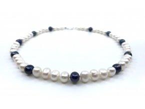 Perlový náhrdelník z bílých a modrých perel