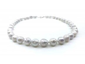 Perlový náhrdelník bílé perly saten