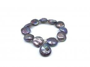 Náramek modrofialové placaté perly