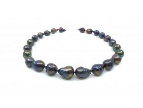 Náhrdelník tmavozelené reborn perly