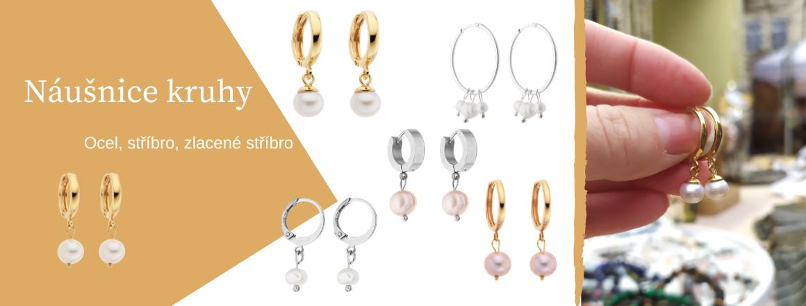 Náušnice kruhy s perlami Perlomanie