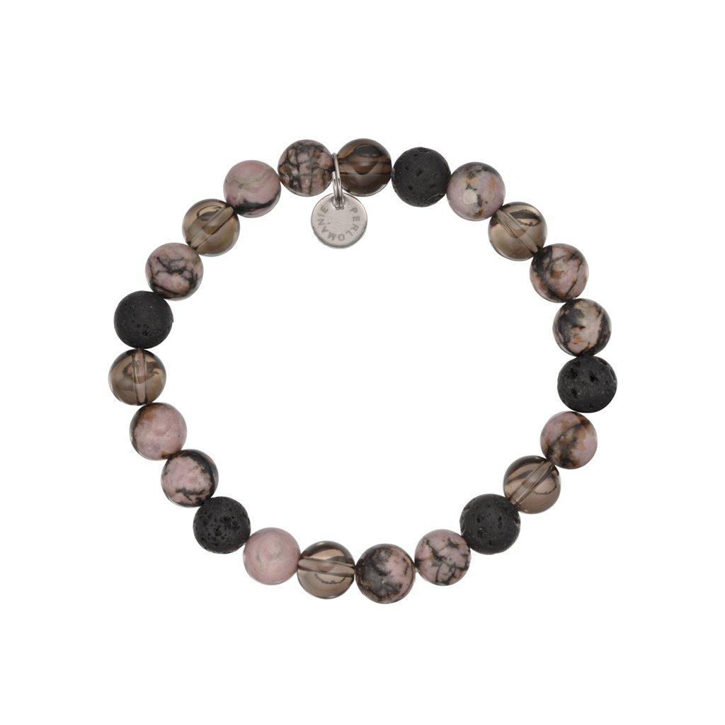 naramamek z mineralnich kamenu lava, rodonit a záhněda MN12038, Perlomanie