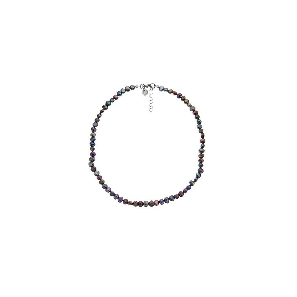 Náhrdelník perly šedofialové BE116, délka 45 - 49 cm