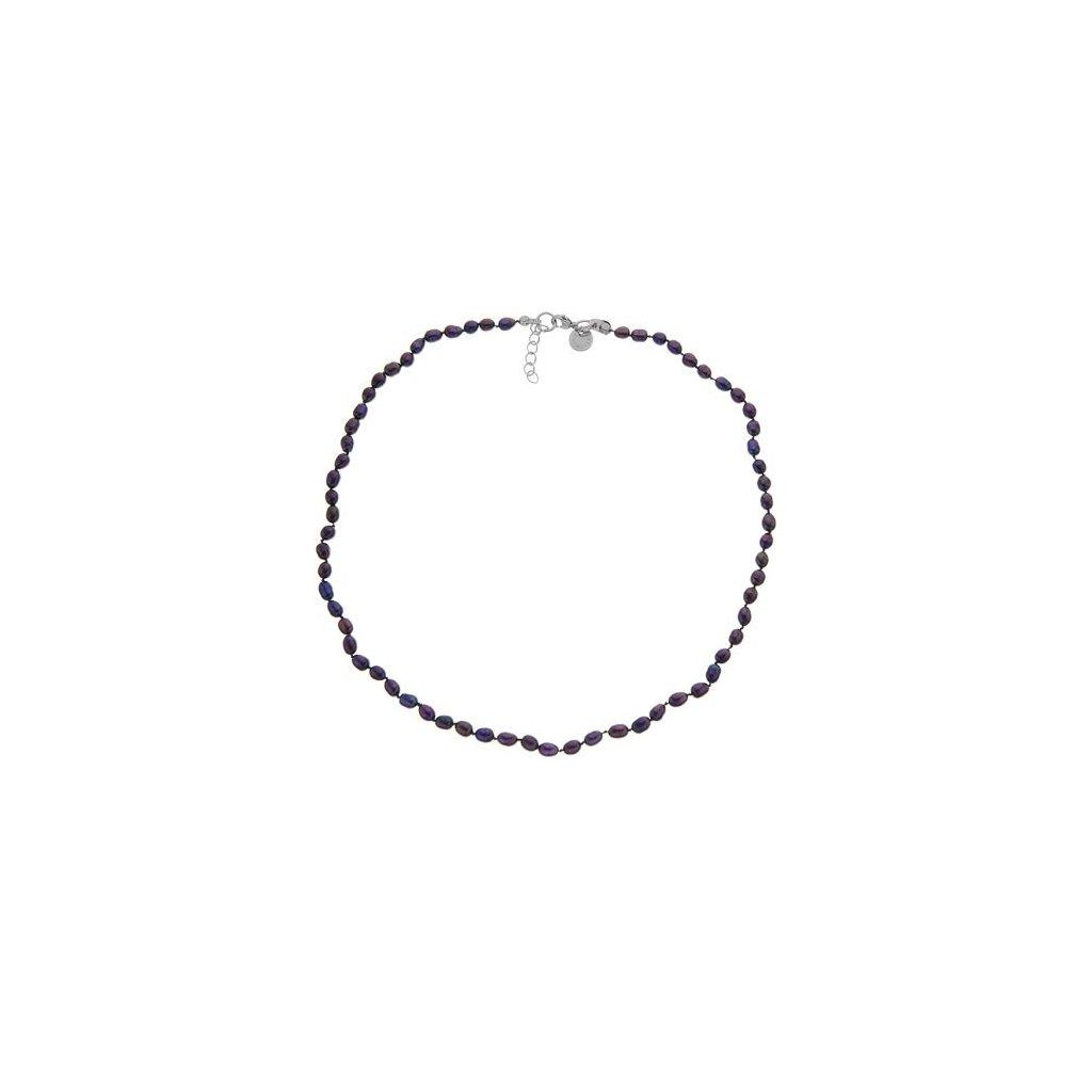 Náhrdelník perly černé oválné uzlíkované BE124, délka 46 - 49 cm