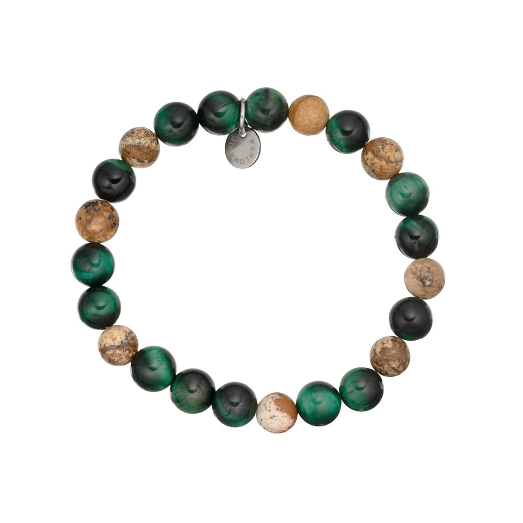 naramek z mineralnich kameni tygri oko zelene, hnedy jaspis MN12072 Perlomanie