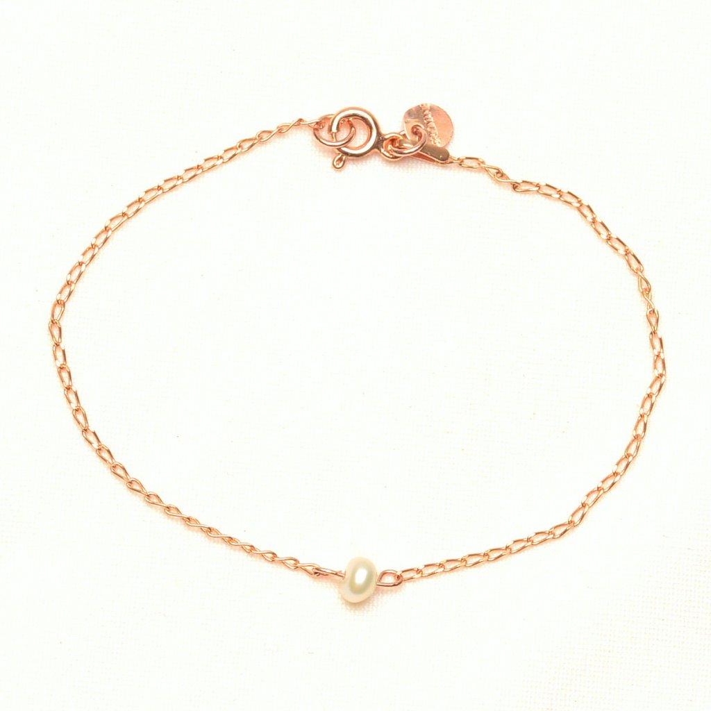 minimalisticky naramek z ruzove zlaceneho stribra s bilou perlou Unique UN10230 Perlomanie