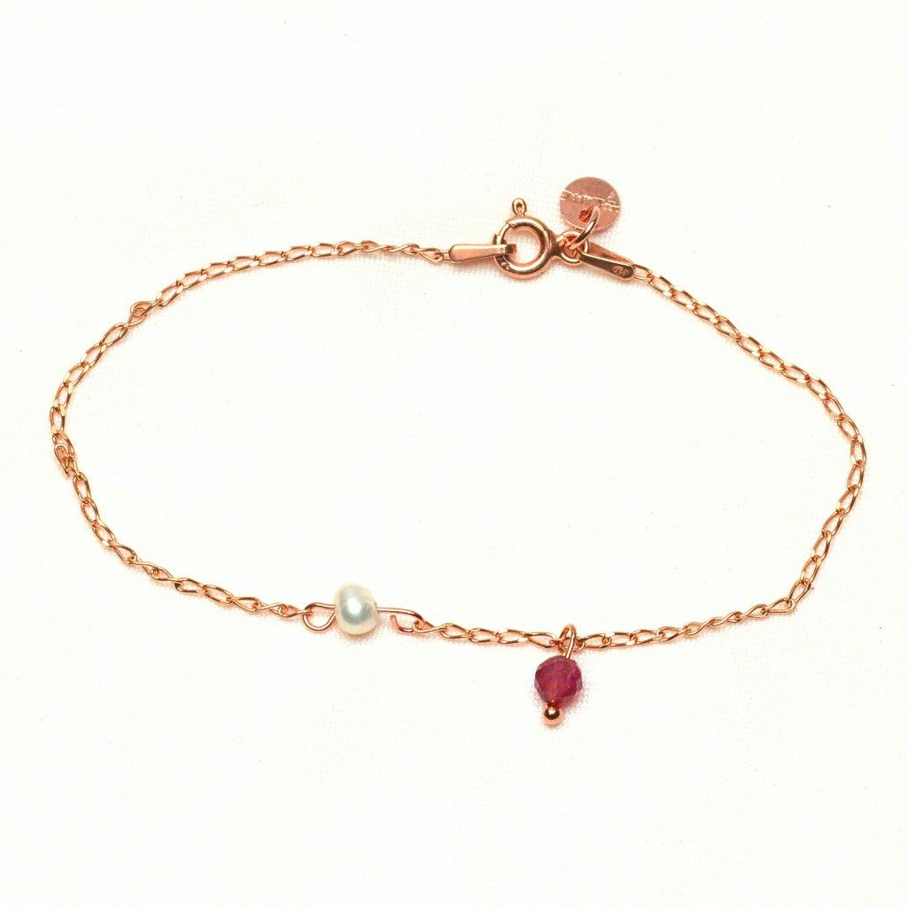 minimalisticky naramek z ruzove zlaceneho stribra s bilou perlou a turmalinem Unique UN10231, Perlomanie