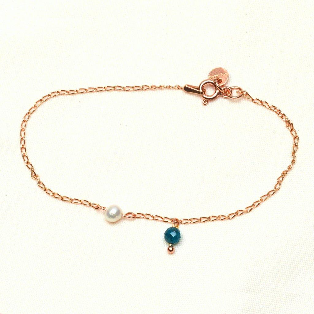 Minimalisticky naramek zlaceny ruzovym zlatem s perlou a apatitem Unique UN10232 Perlomanie