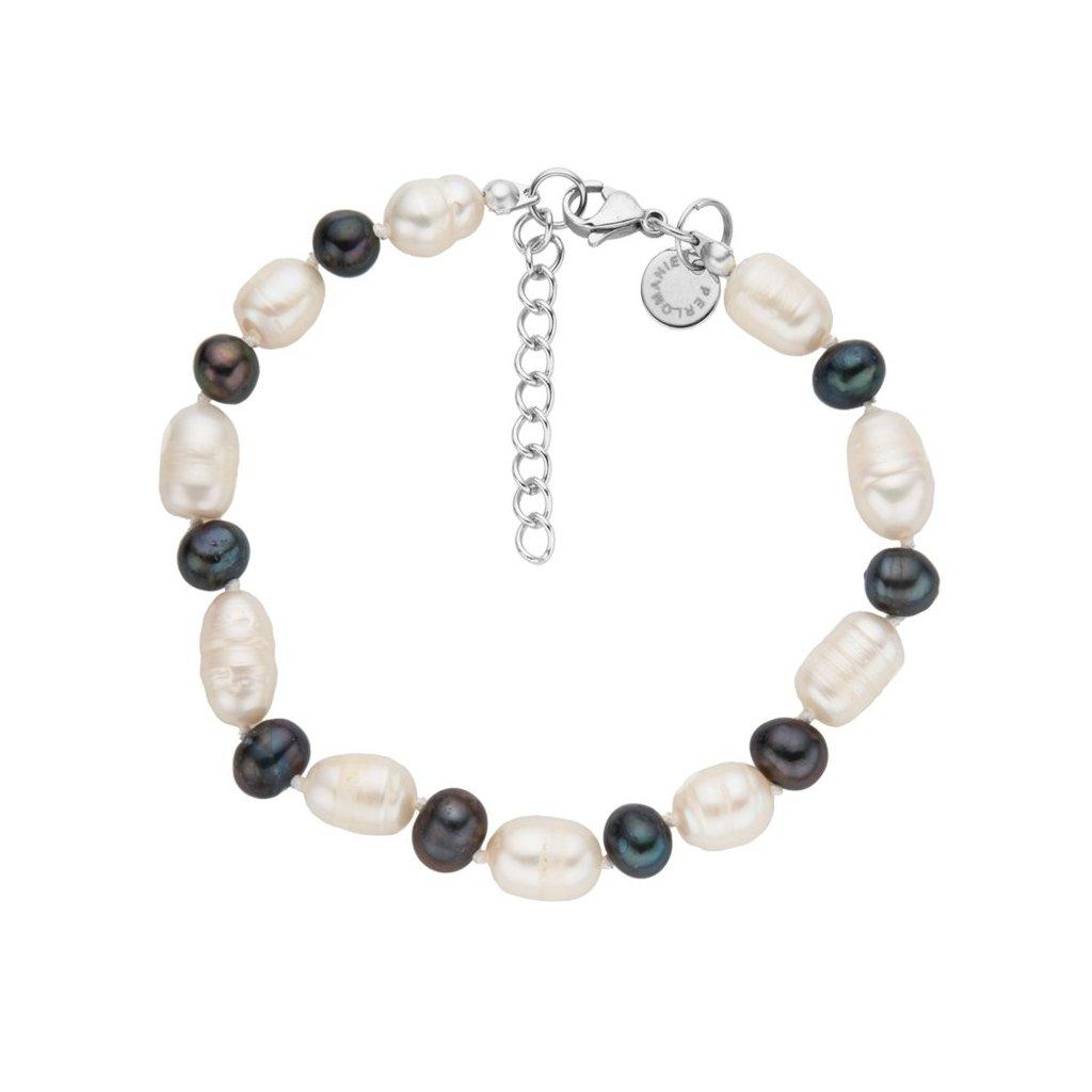 Náramek velké bílé a tmavé perly LI465