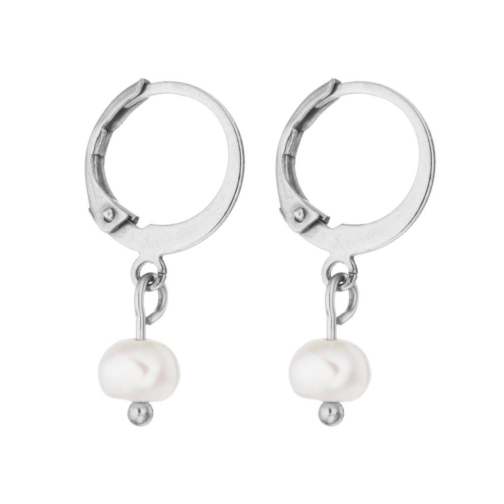 Náušnice kruhy s bílými perlami chirurgická ocel, Perlomanie