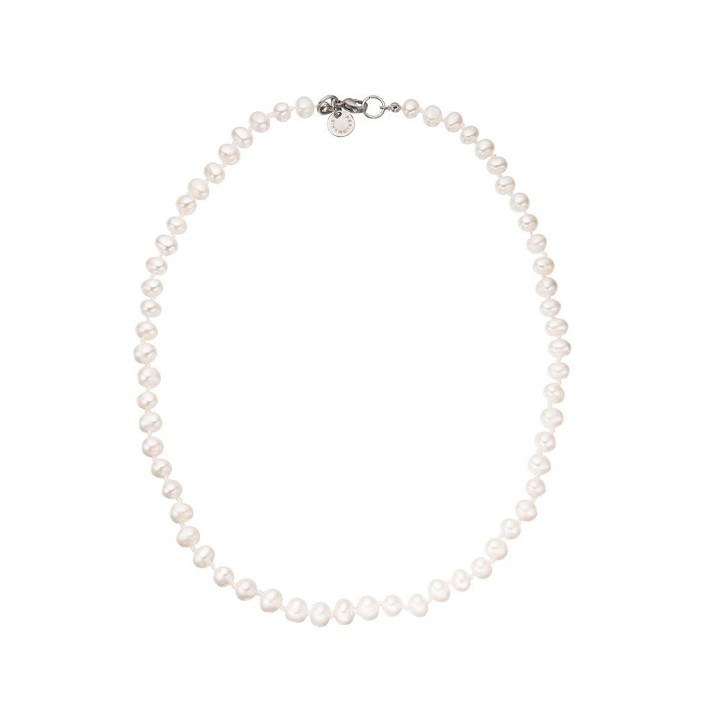 Náhrdelník uzlíkovaný bílé perly BE127, Perlomanie