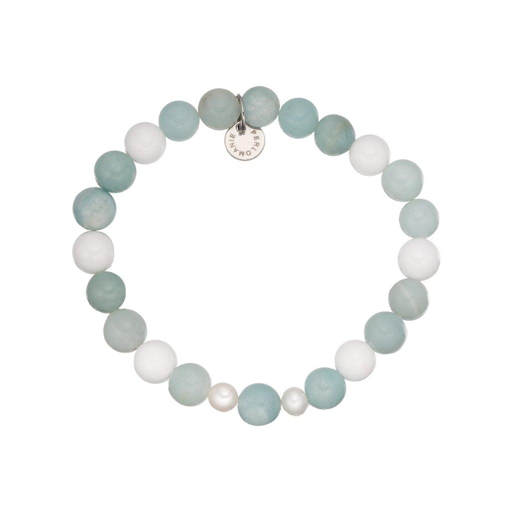 Mineralni naramek amazonit, bile perly, jadeit MN120006, Perlomanie