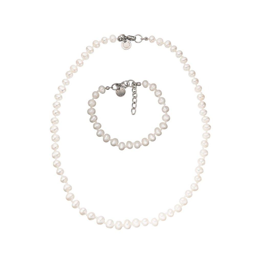 Souprava bílé perly - náhrdelník a náramek KT8012, Perlomanie