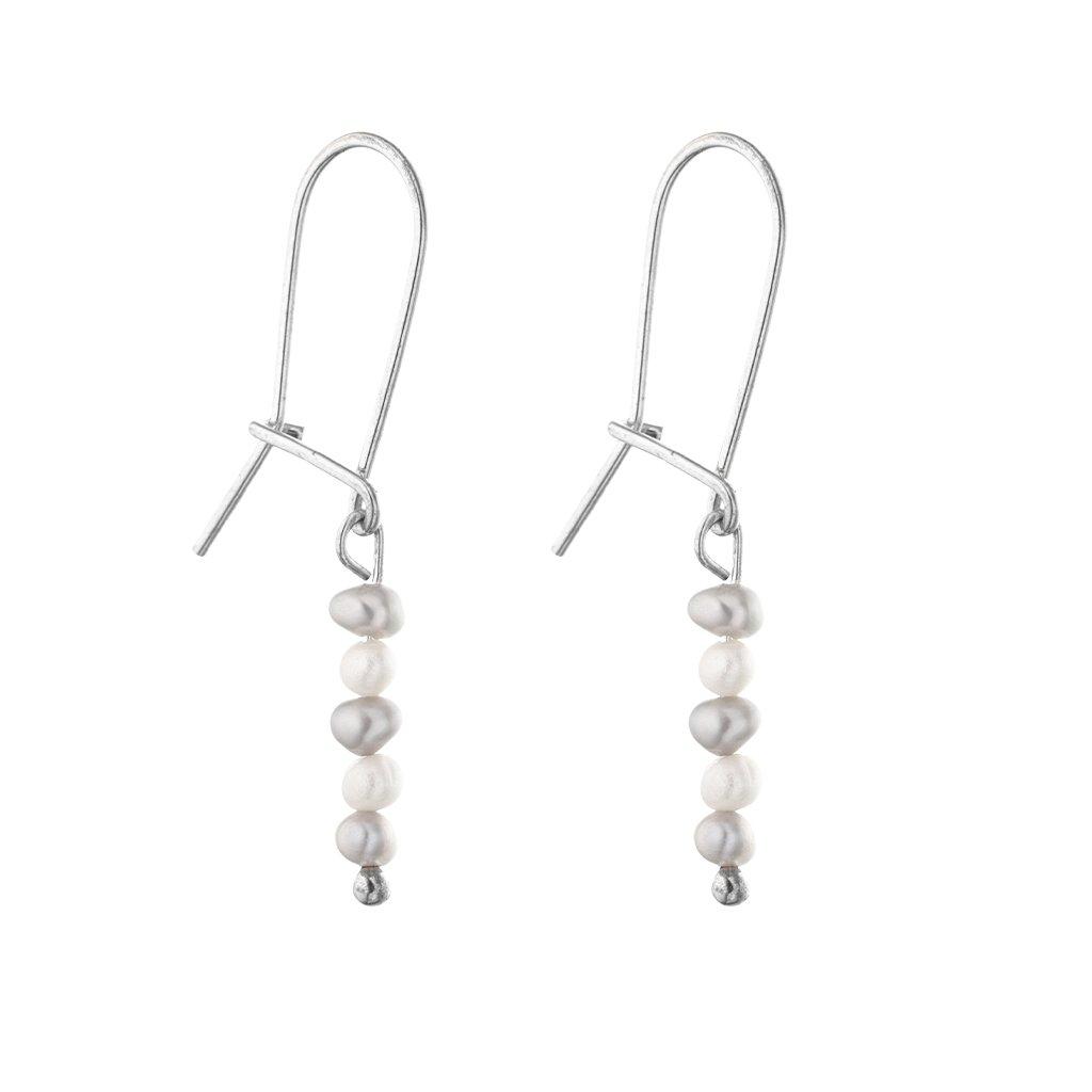 Jemné náušnice s bílými a šedými perlami, ručně vyrobeno, Perlomanie