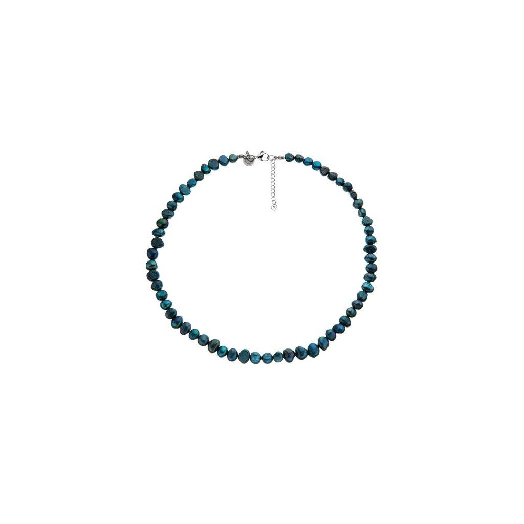 Náhrdelník perly zelené BE118, délka 46 - 50 cm