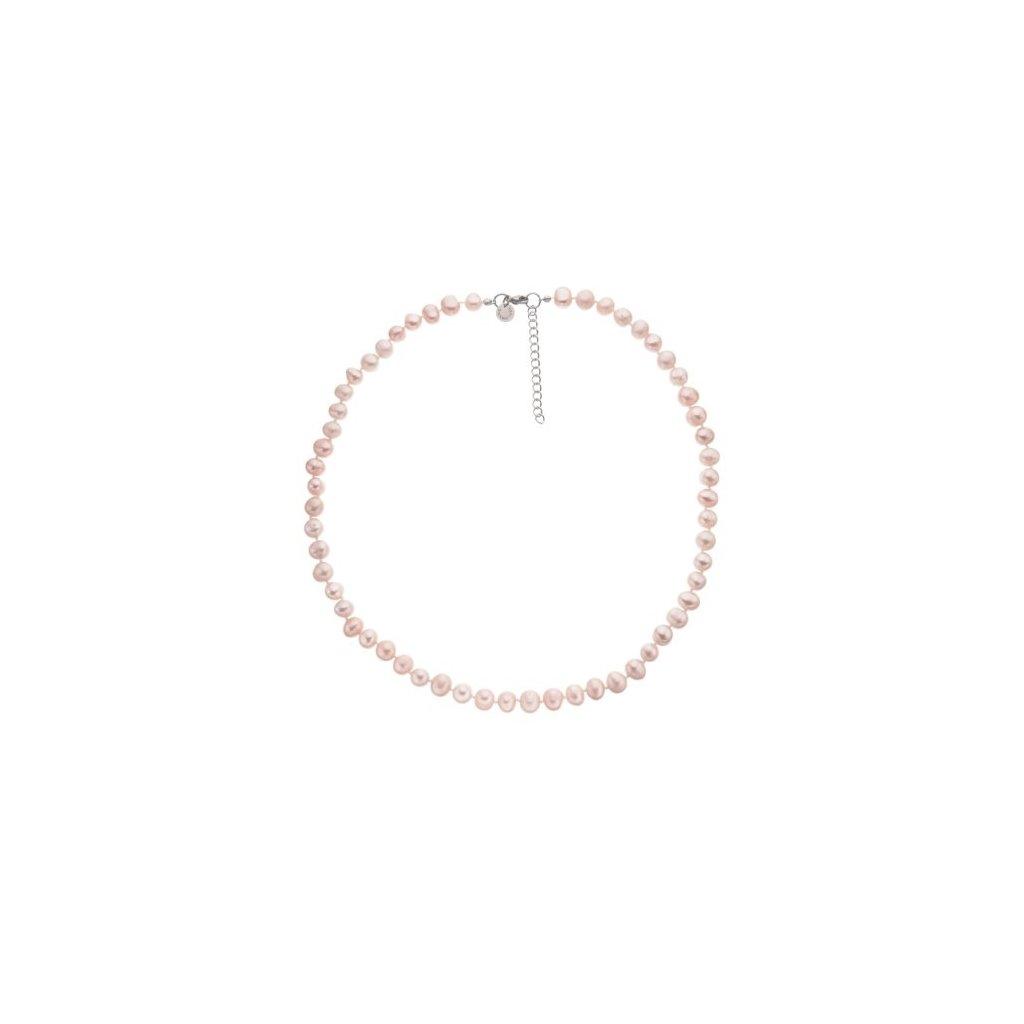 Náhrdelník perly růžové BE122, délka 44 - 48 cm