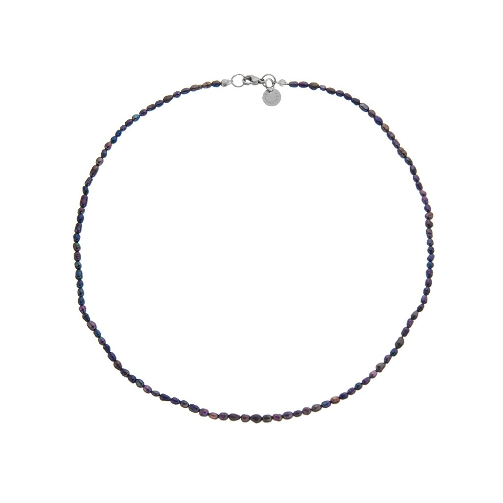 nahrdlenik prave perlNáhrdelník perly černé oválné BE131, délka 46 cm, Perlomanie