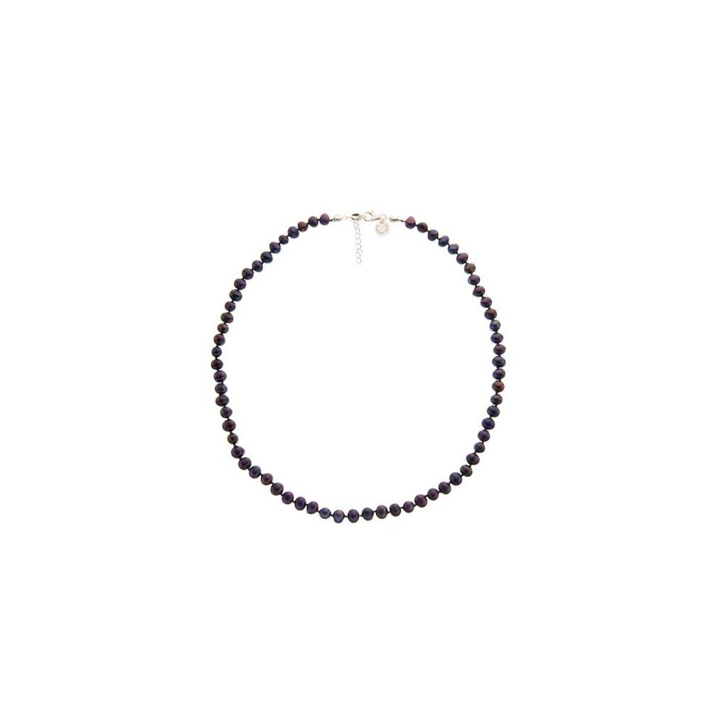 Stříbrný náhrdelník perly černé SP722, délka 49 - 52 cm
