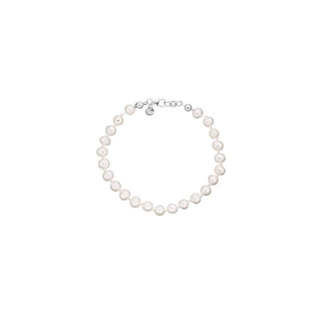 Stříbrný náramek perly bílé AP45008