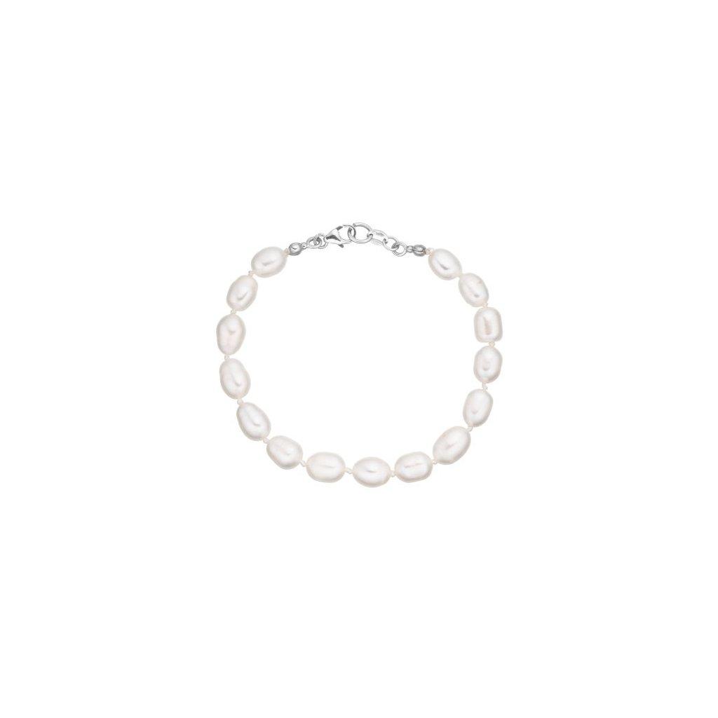 Stříbrný náramek perly oválné bílé AP4509