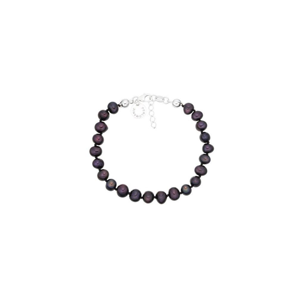 Stříbrný náramek perly kulaté černé AP4510