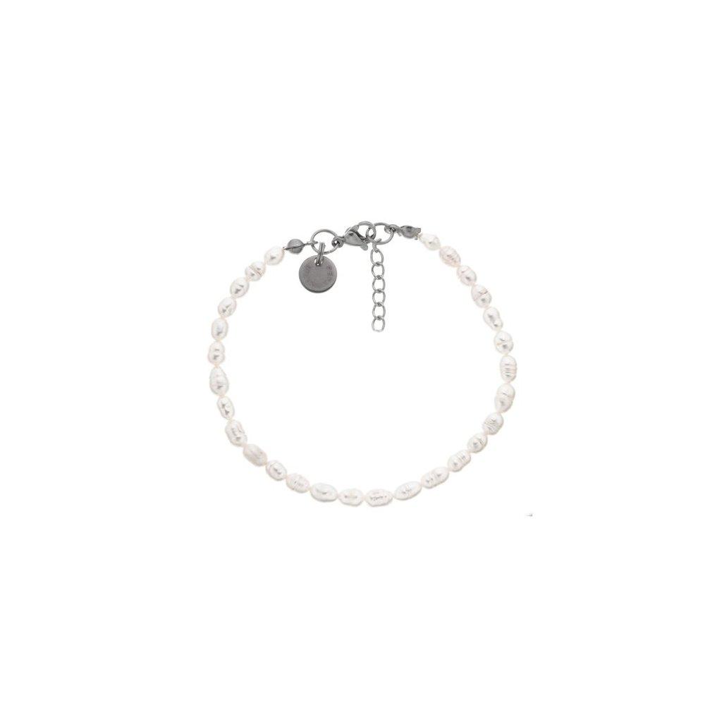Jemný náramek perly oválné bílé, ocel LI4509