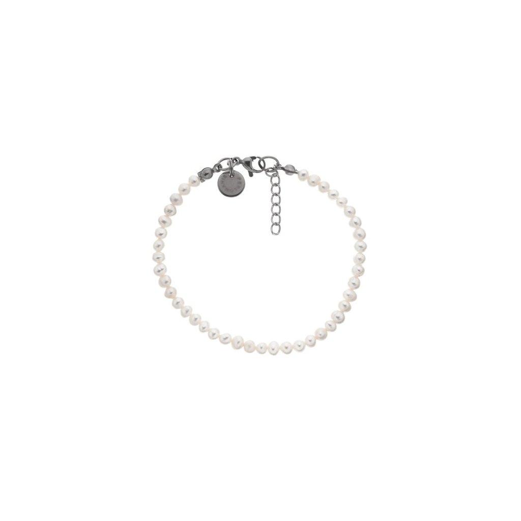 Jemný náramek perly bílé, ocel LI4510