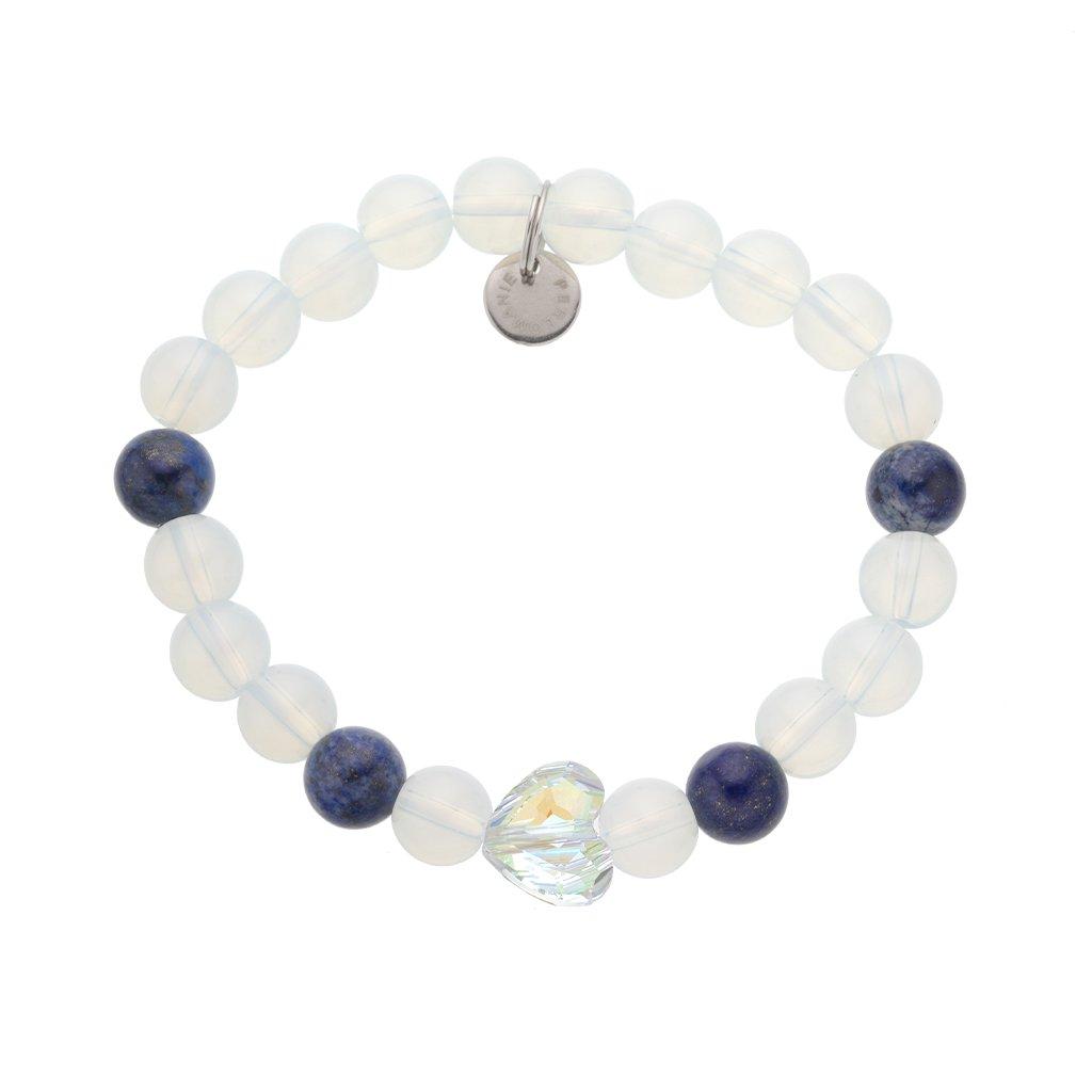 Naramek z mineralnich kamenu lapis lazuli, opalit, srdce Swarovski MN12202 , Perlomanie