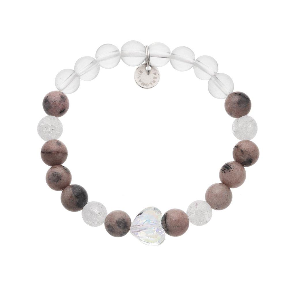 Naramek z mineralnich kamenu rodochrozit, kristala srdce Swarovski MN12204 Perlomanie