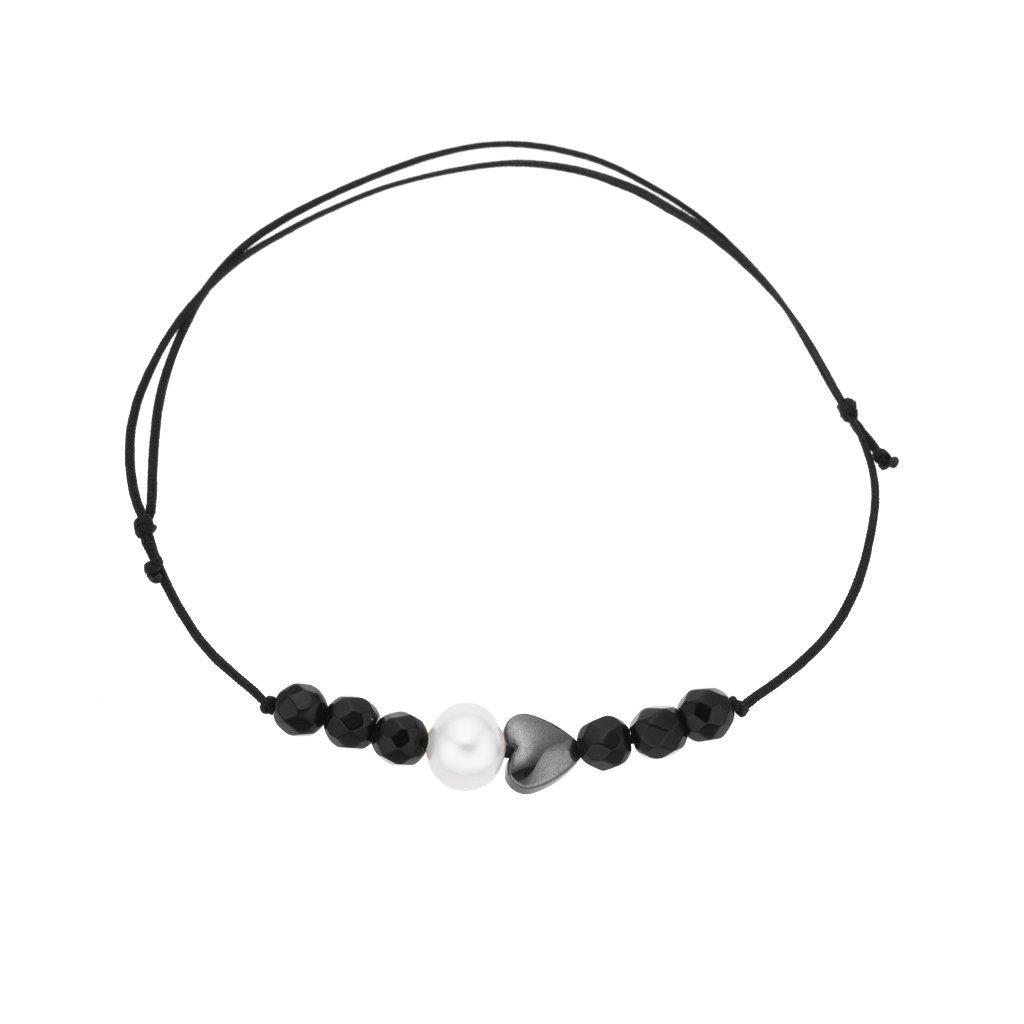 Náramek na šňůrce srdce a bílá perla s onyxem, černá šňůrka S13001, perlomanie