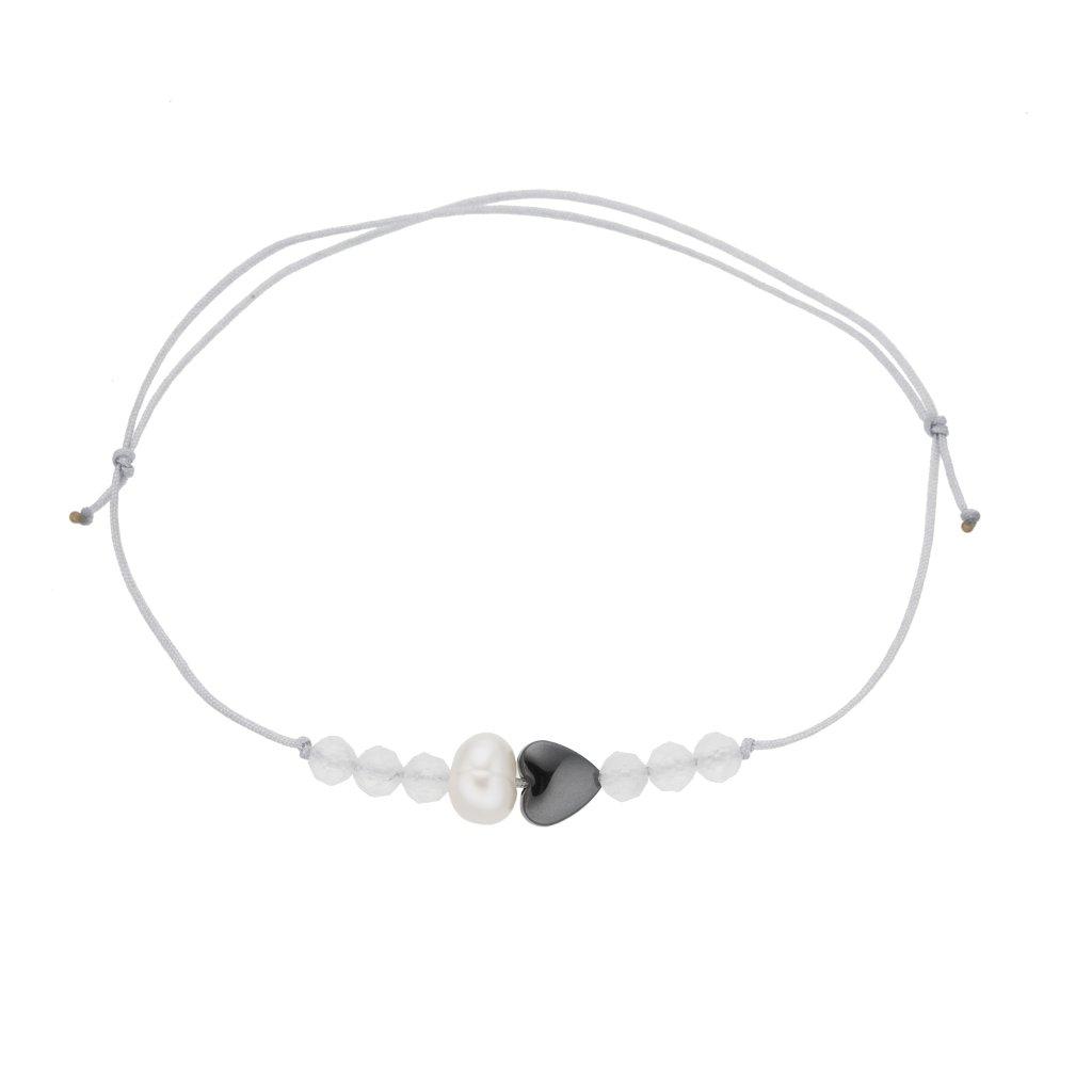 Náramek na šňůrce srdce a bílá perla s měsíčním kamenem, šedá šňůrka S13003, Perlomanie