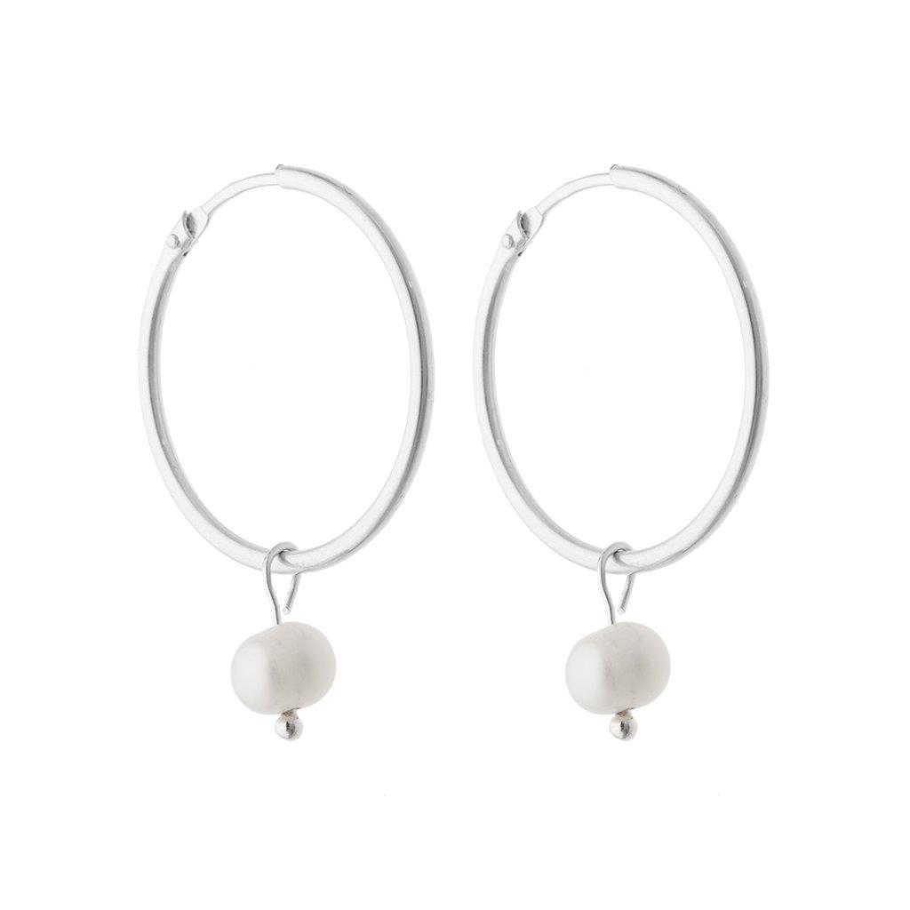 Nausnice stribrne kruhy bile perly, Perlomanie