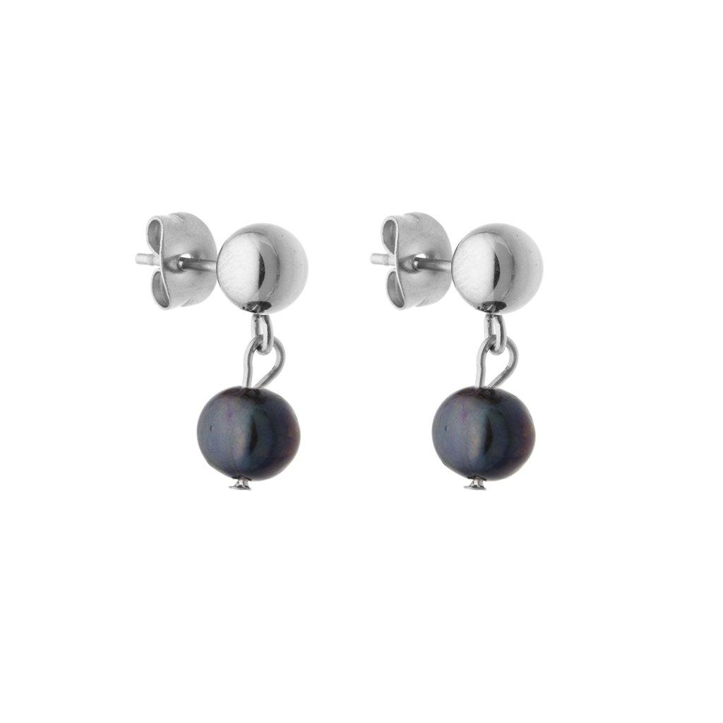 Náušnice pecky černá perla SP6510 Perlomanie