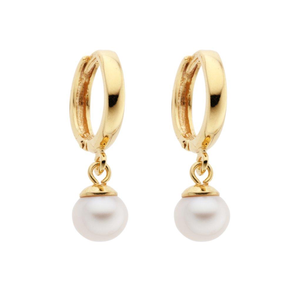 Náušnice kruhy zlacené stříbro bílé perly, Perlomanie