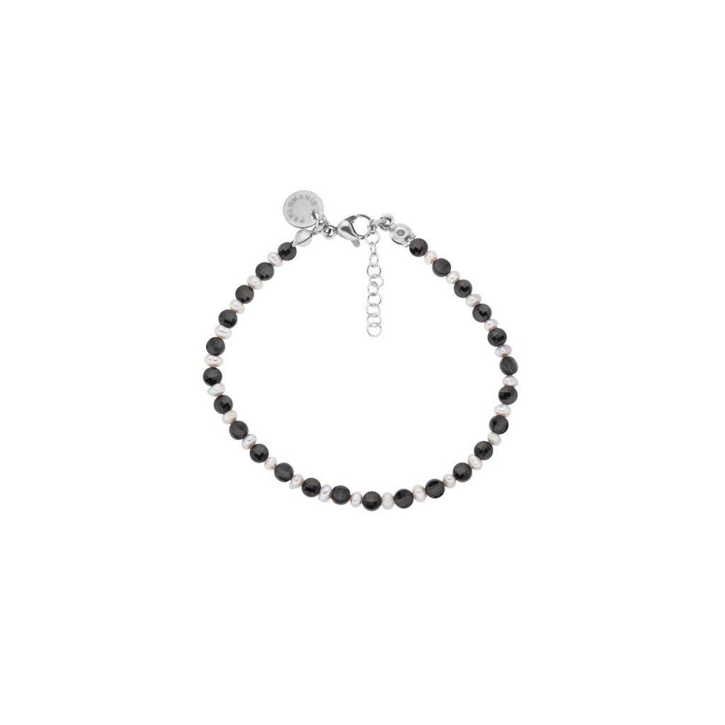 Jemný náramek černý spinel a perly LI40120