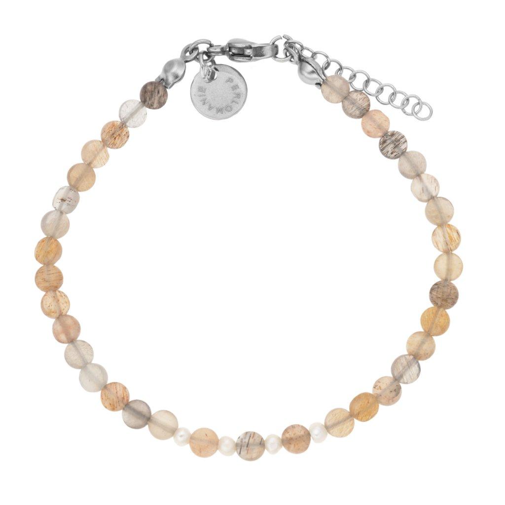 Jemný náramek sluneční kámen a perly LI40122, minimalistický náramek Perlomanie
