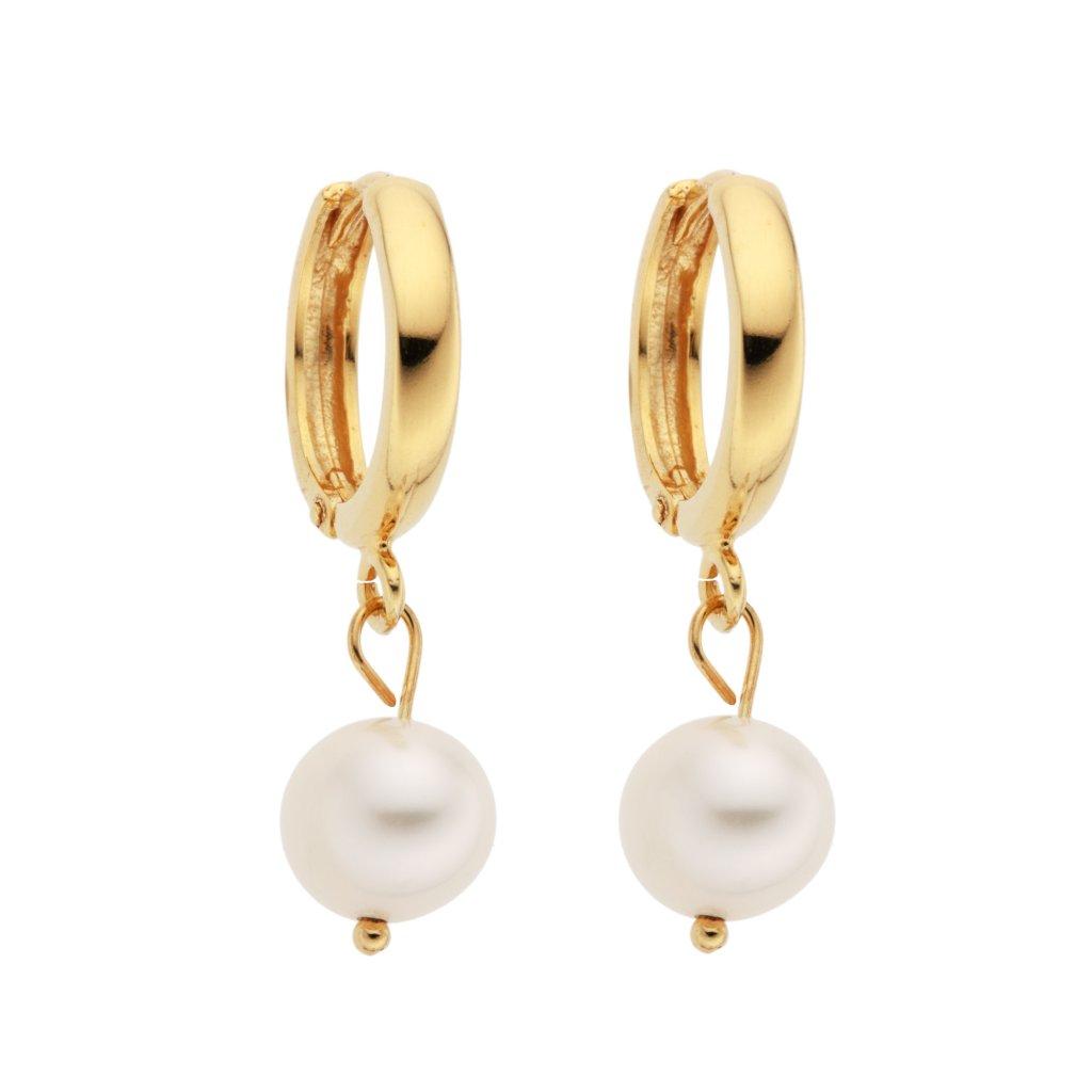 Kruhové náušnice ze zlaceného stříbra s velkými bílými perlami, Perlomanie