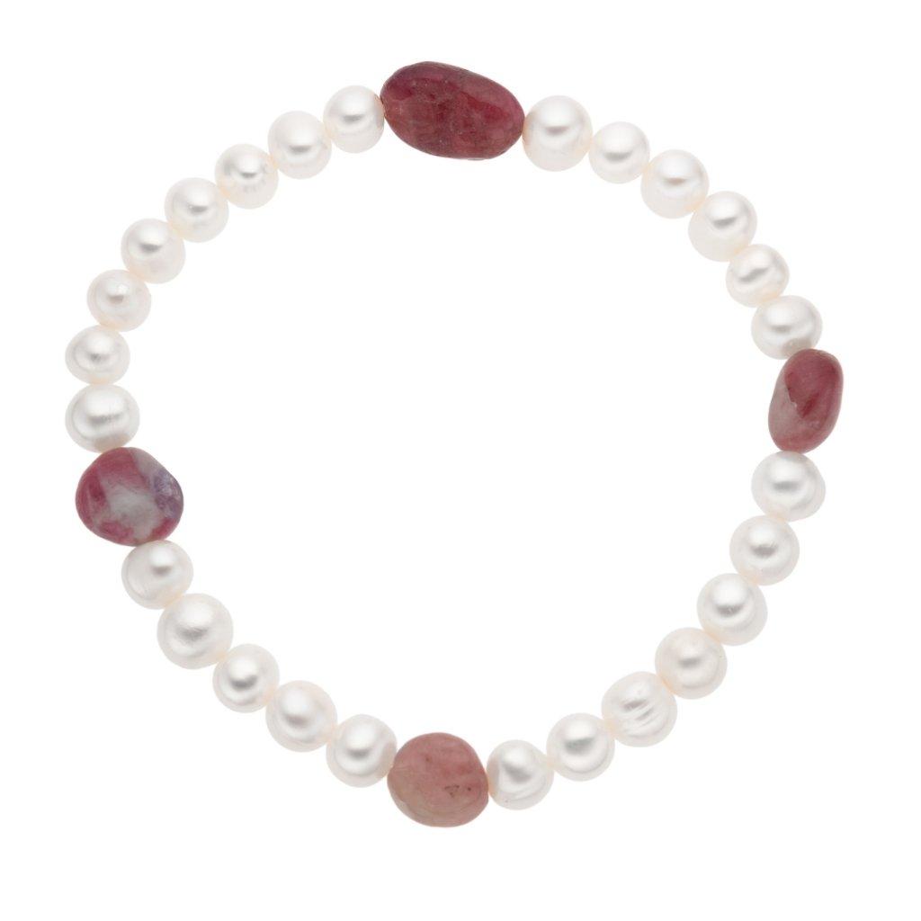Perlový náramek s turmalínem na gumičce MN12511, Perlomanie