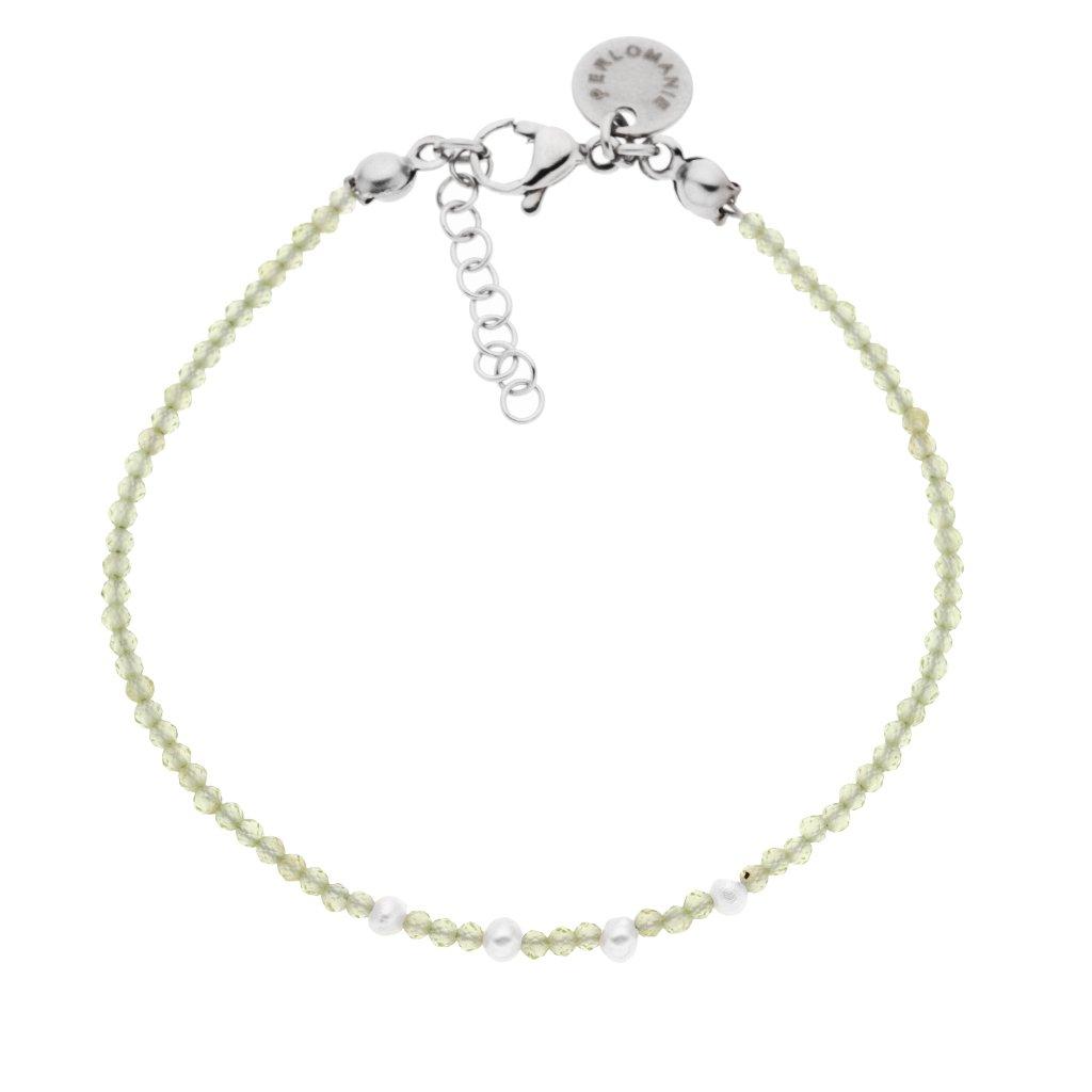 Jemny naramek olivin a perly minimalisticky naramek Perlomanie