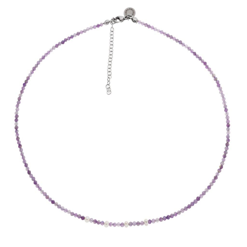 Jemný náhrdelník ametyst a perly Perlomanie