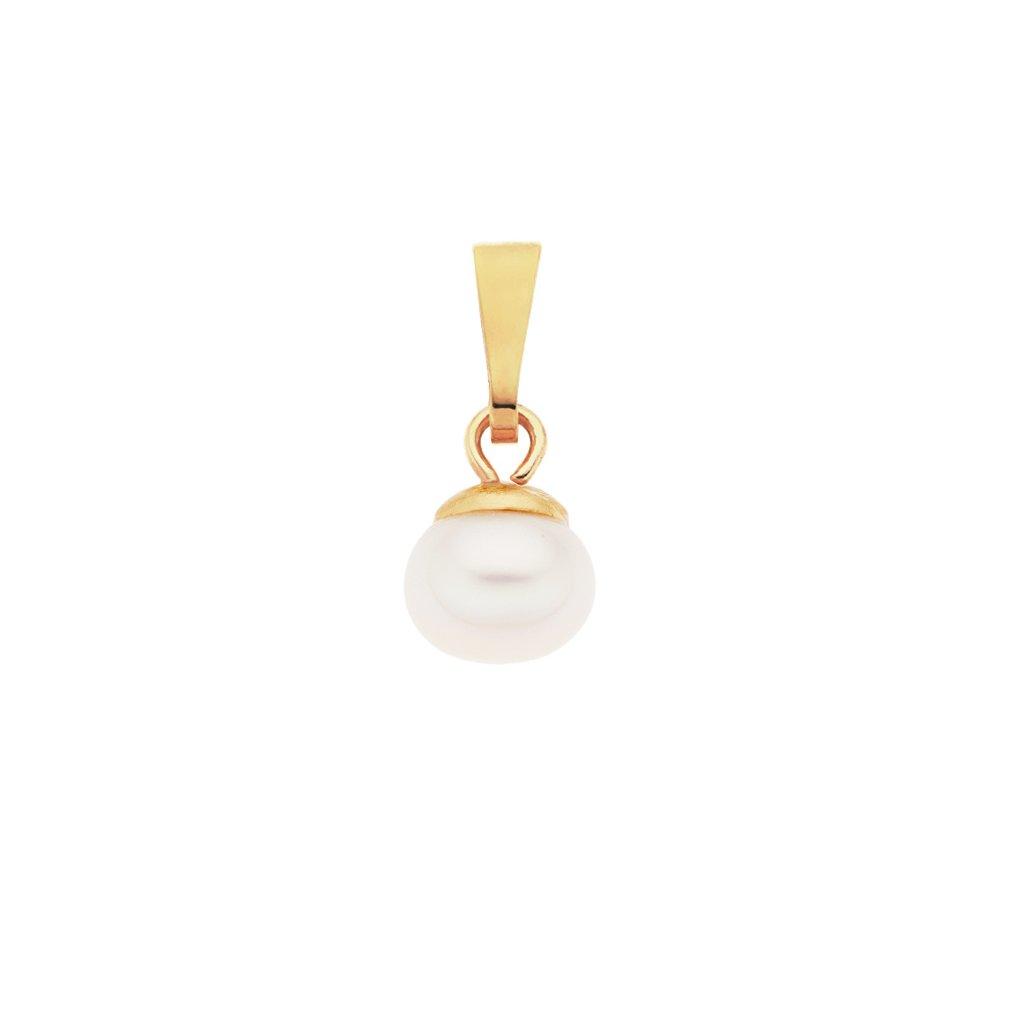 Pozlacený přívěsek LENA perla AA bílá LE805, Perlomanie