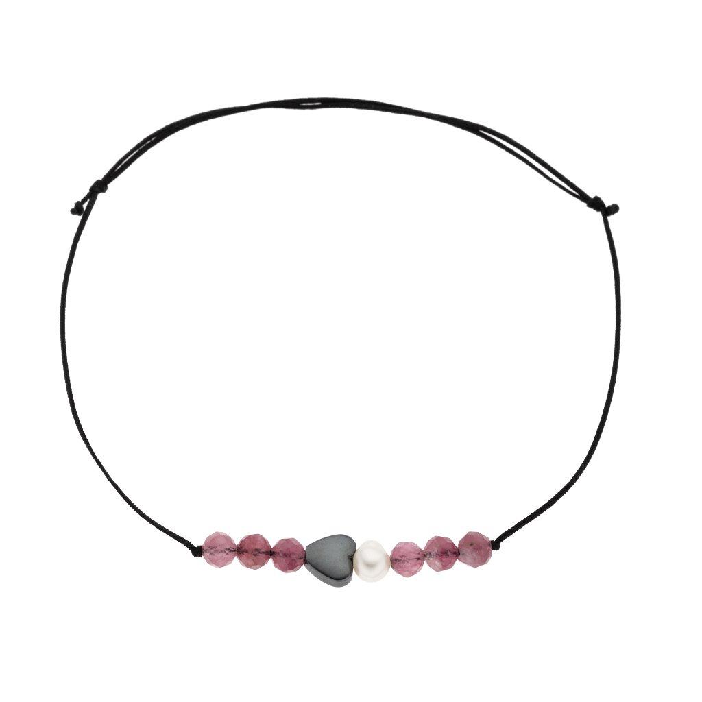 Náramek na šňůrce srdce a bílá perla s turmalínem černá šňůrka S13007, Perlomanie
