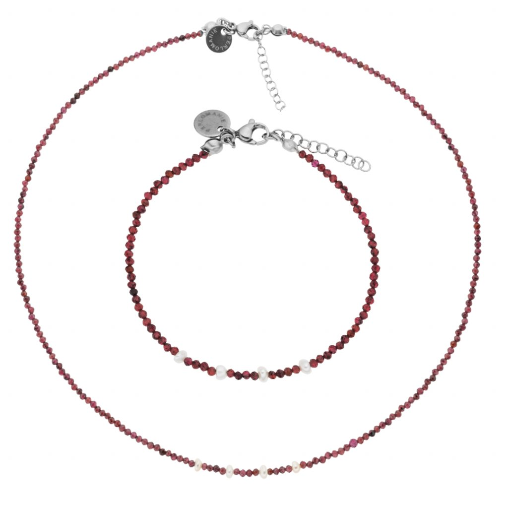 Jemná souprava granát a bílé perly LI403011, náhrdelník a náramek z granátů, Perlomanie