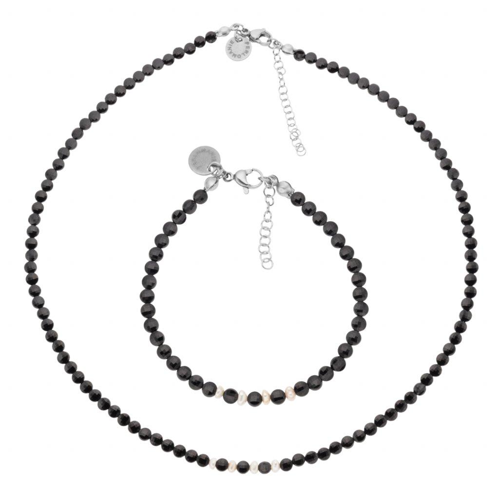 Jemná souprava černý spinel a bílé perly LI403013, perlomanie