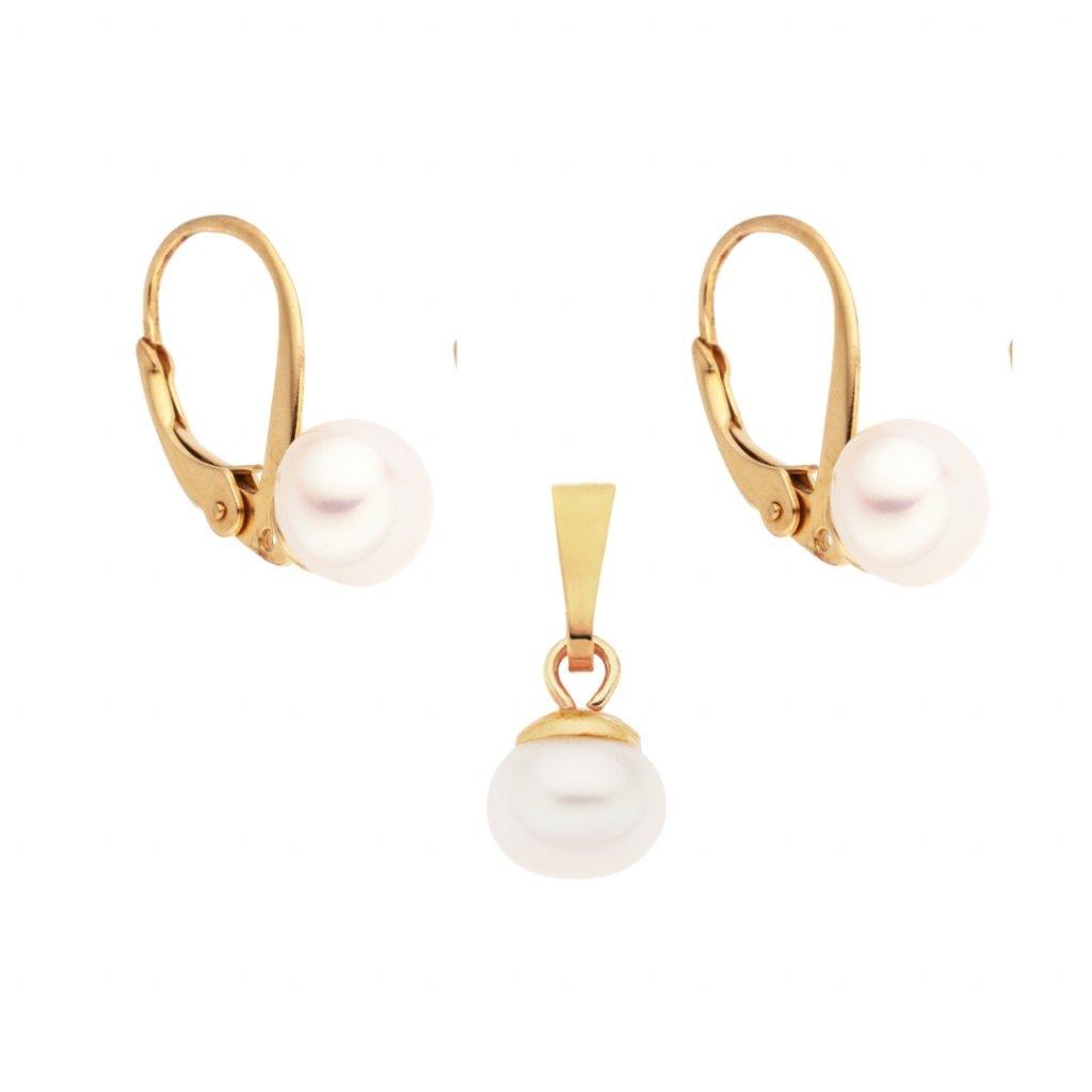 Perlová zlacená souprava bílé perly KT8121, Perlomanie