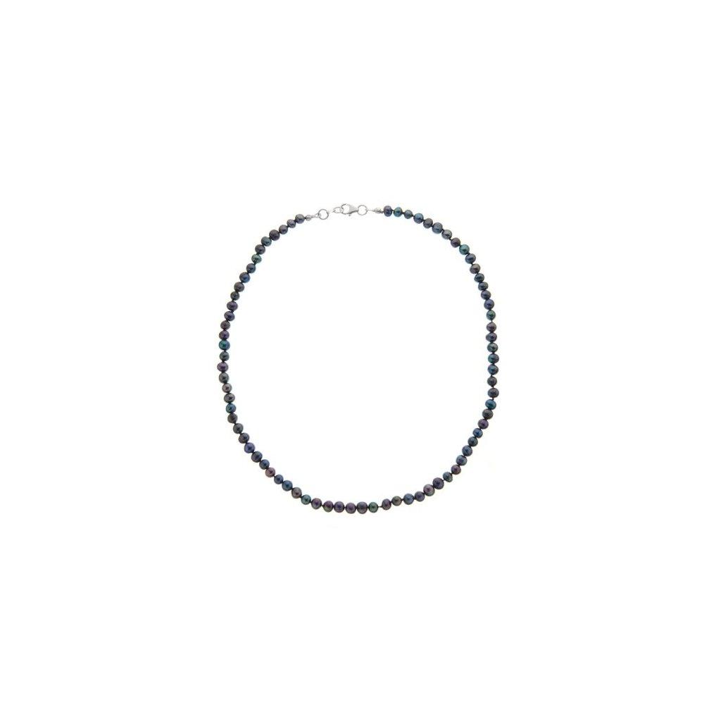 Stříbrný náhrdelník perly černé SP721, délka 46 cm