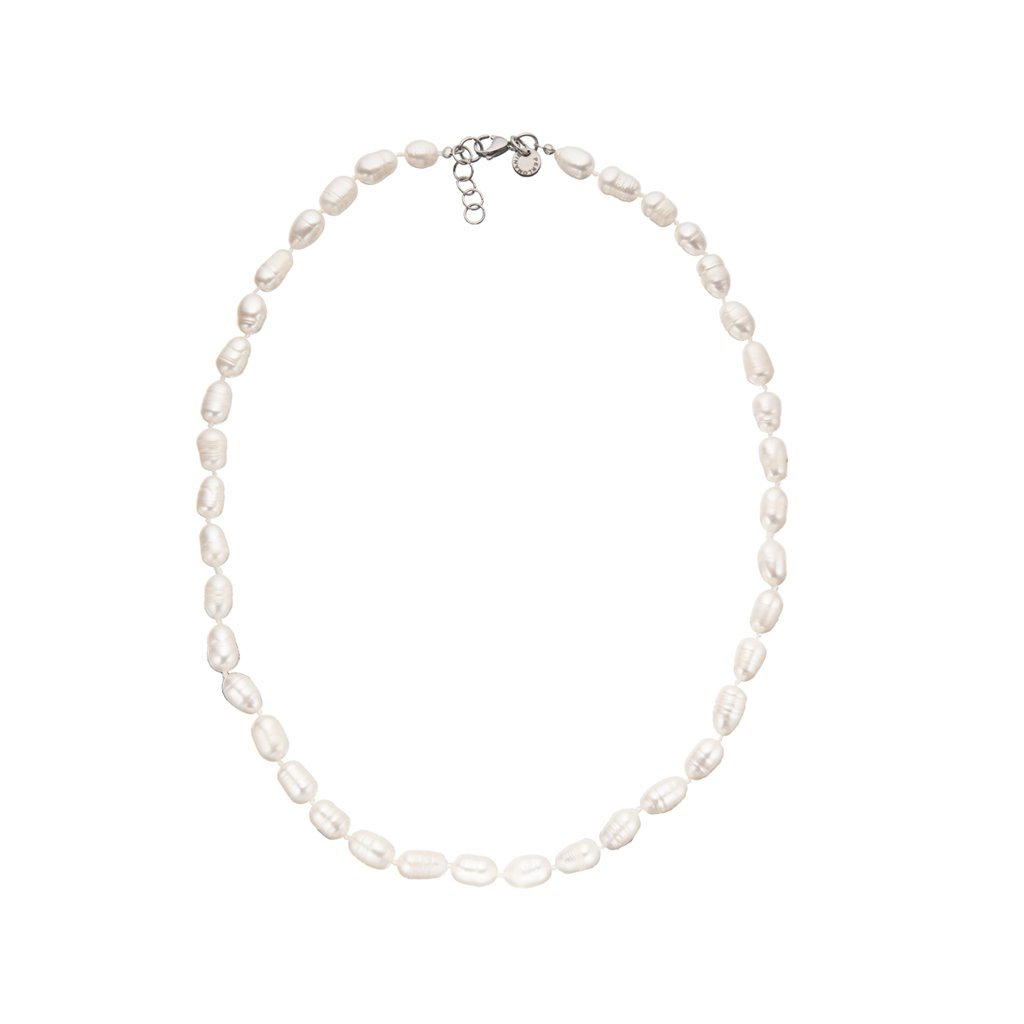 Náhrdelník uzlíkovaný perly bílé BE113, délka 55 - 58 cm, Perlomanie