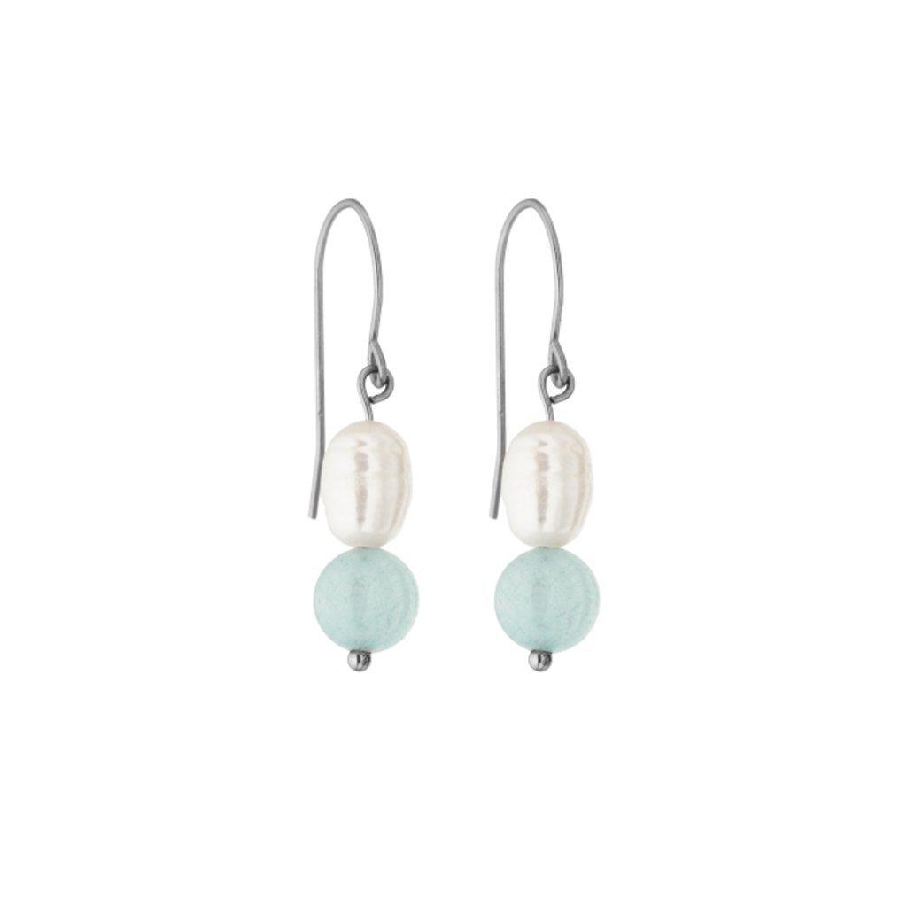 Perlové náušnice bílé perly a amazonit SP6245