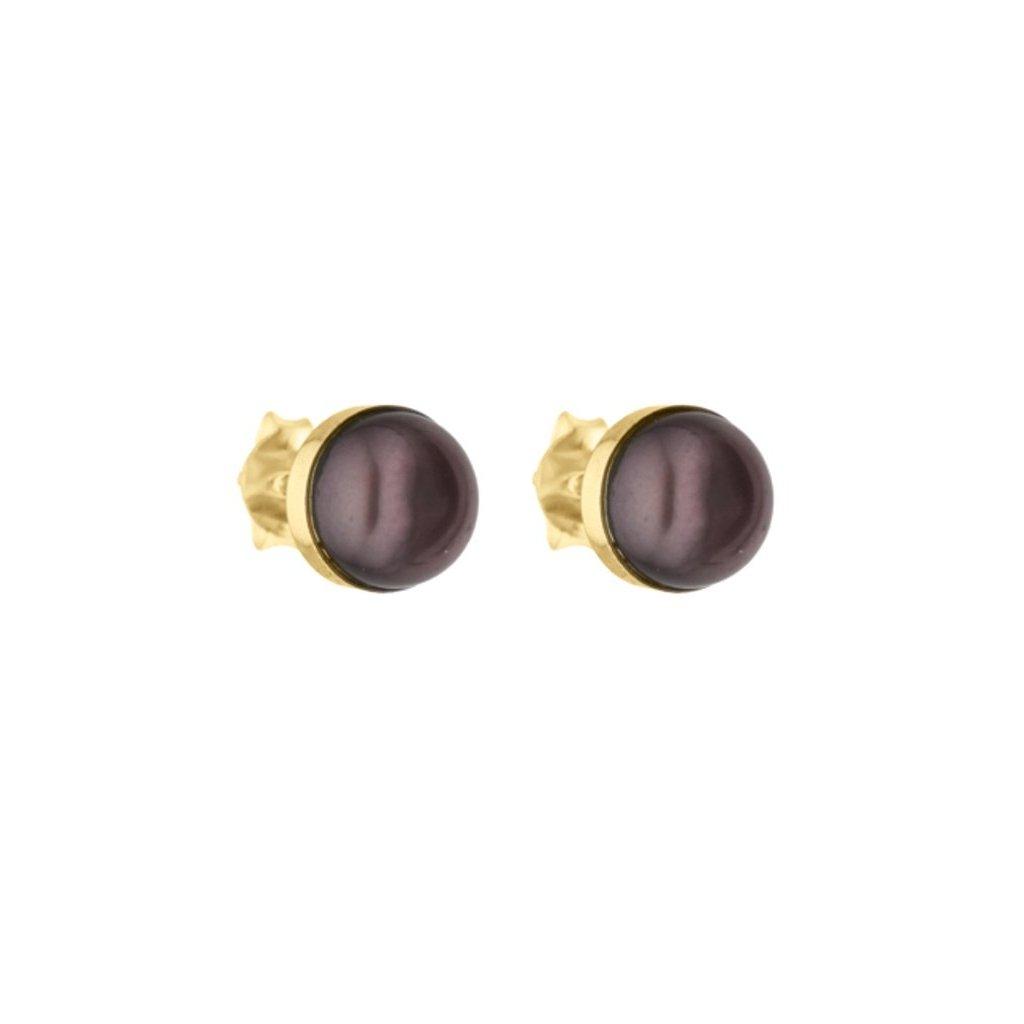 Pozlacené náušnice EMILY perla černá EY834