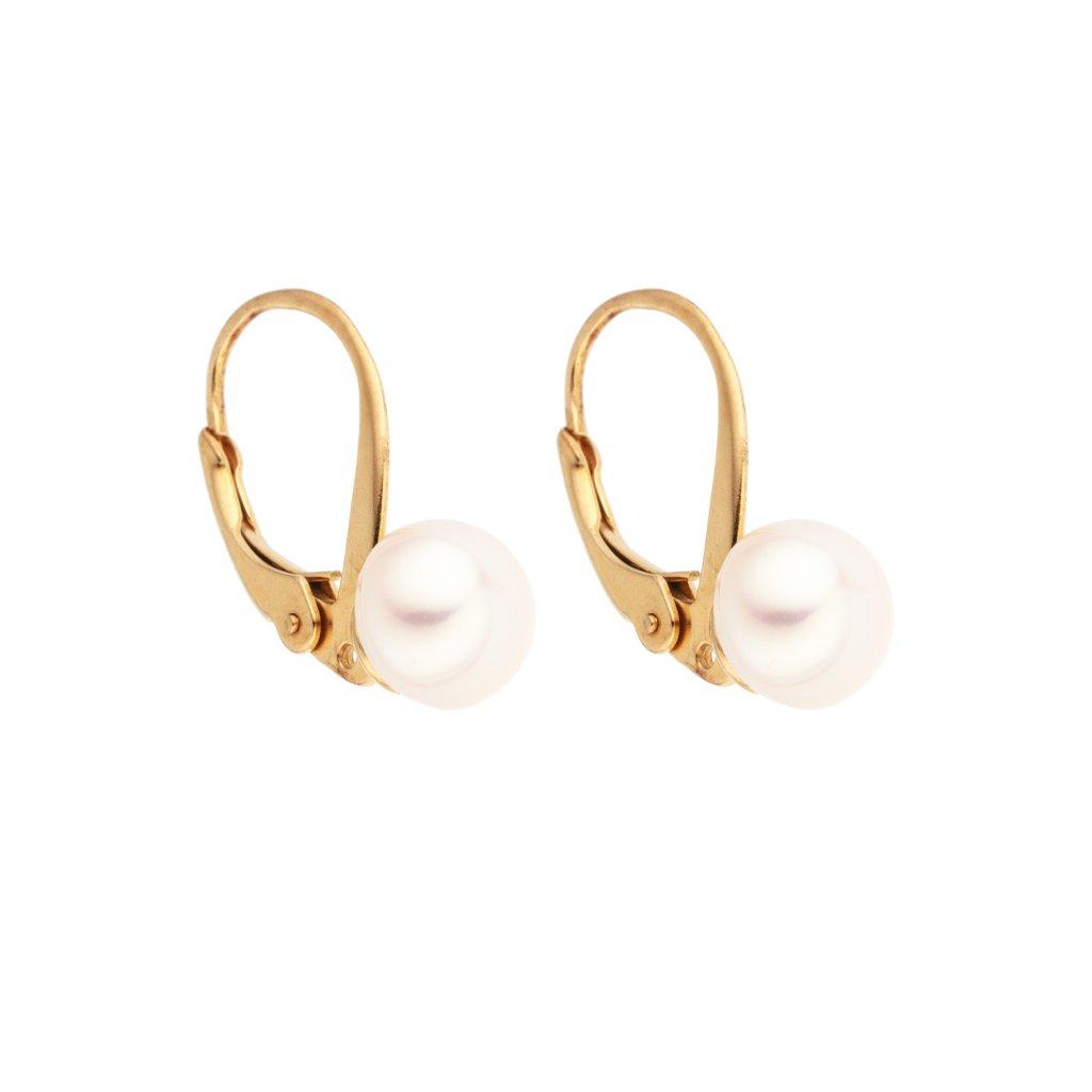 Pozlacené perlové náušnice EMMA perla AA bílá EM311 Perlomanie